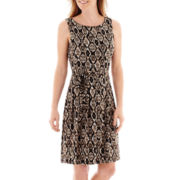 Liz Claiborne® Sleeveless Print Pleated Fit-and-Flare Dress