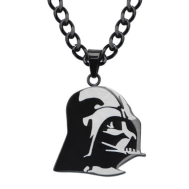 jcpenney.com | Star Wars® Darth Vader Mens Stainless Steel & Black IP Etched Pendant Necklace