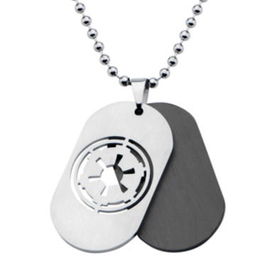jcpenney.com | Star Wars® Imperial Crest Mens Stainless Steel and Black Dog Tag Pendant