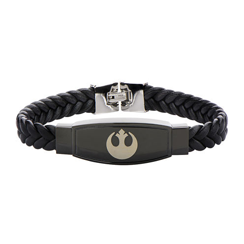 Star Wars® Rebel Symbol Mens Stainless Steel and Braided Leather Bracelet