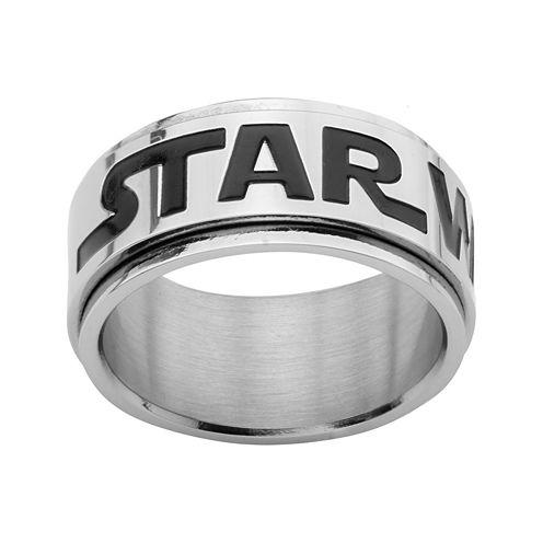 Star Wars® Logo Mens Stainless Steel Spinner Ring