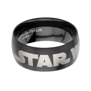 jcpenney.com | Star Wars® Logo Mens Stainless Steel and Black IP Dome Ring