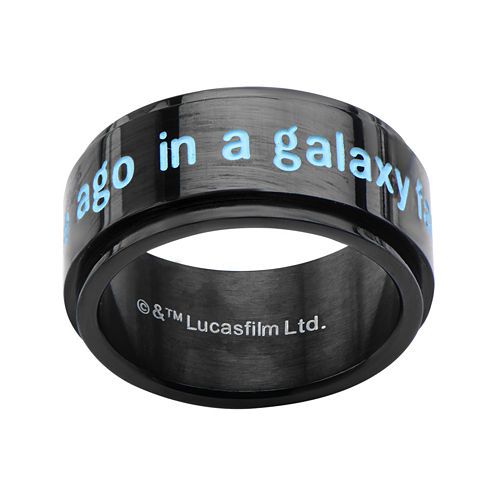 Star Wars® Mens A Long Time Ago Stainless Steel and Black IP Spinner Ring