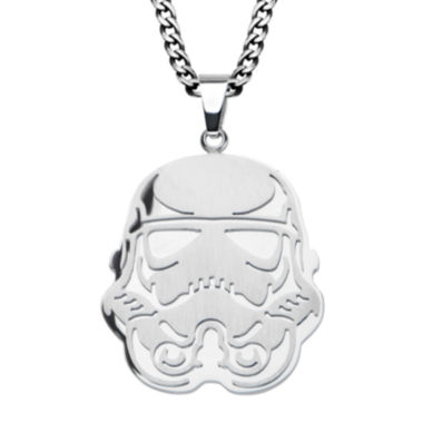 jcpenney.com | Star Wars® Stormtrooper Mens Stainless Steel Cutout Pendant Necklace