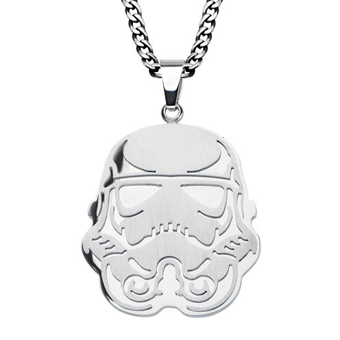 Star Wars® Stormtrooper Mens Stainless Steel Cutout Pendant Necklace