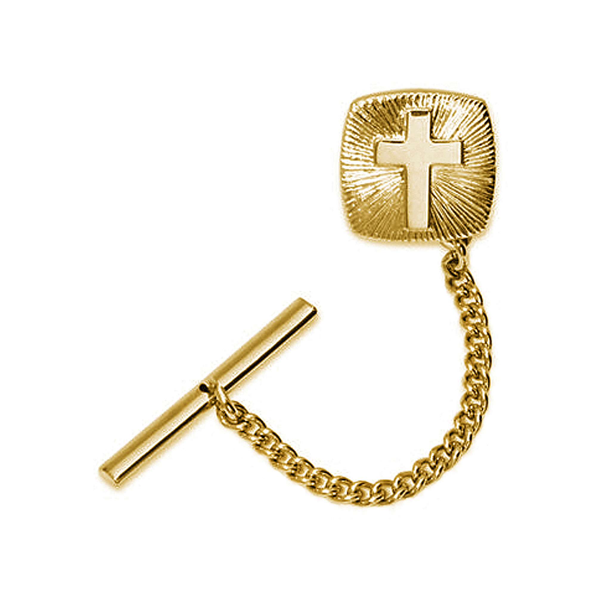 Gold-Plated Cross Starburst Tie Tack