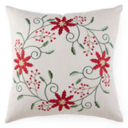 North Pole Trading Co. Poinsettia Wreath Decorative Pillow