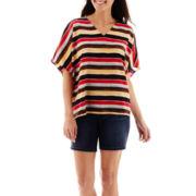 Liz Claiborne® V-Neck Scarf Print Top or 5-Pocket Denim Shorts