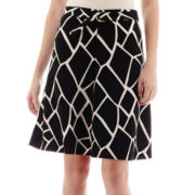 Worthington® Printed Split A-Line Skirt with Belt