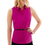 Worthington® Sleeveless Belted Shirt