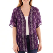 Liz Claiborne® Short-Sleeve Print Kimono