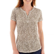 Liz Claiborne® Short-Sleeve Slub Henley T-Shirt - Tall
