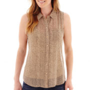 Liz Claiborne® Sleeveless Button-Front Blouse - Tall