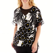 Worthington® Short-Sleeve Chiffon-Mix Tunic Top - Plus