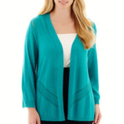 Worthington® 3/4-Sleeve Open-Front Cardigan Sweater - Plus