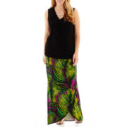 Worthington® Necklace Blouse or Gathered-Waist Print Maxi Skirt - Plus