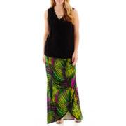 Worthington® Necklace Blouse or Gathered-Waist Print Maxi Skirt - Plus