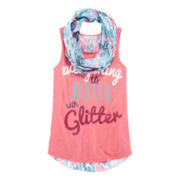 Self Esteem® Graphic Tank Top and Scarf - Girls 7-16 and Plus