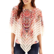 Unity™ Poncho Point Woven Overlay Top - Petite