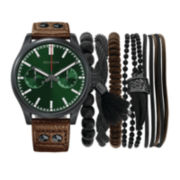Rocawear Men's Brown And Green Dial Stackable Bracelet Strap Watch Set Rmst5176B328-986