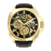 Rocawear Men's Black And Gold Skeleton Dial Strap Watch Rm7641Bk1-325