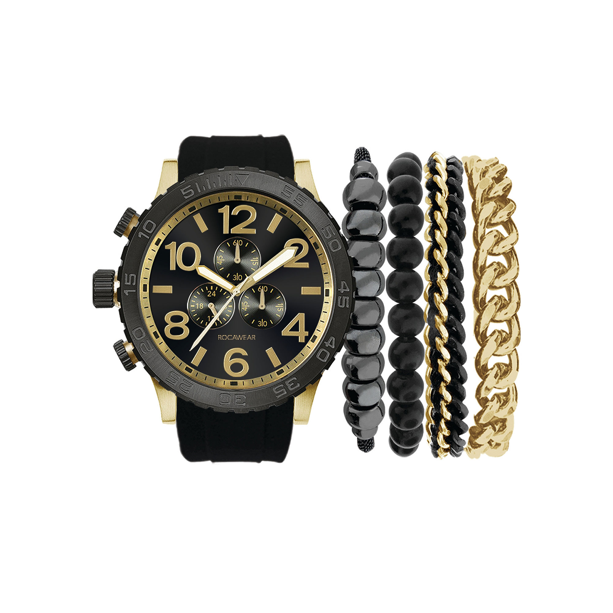 Rocawear Men's Black And Gold Stackable Bracelet Strap Watch Set Rmst5173G328-121