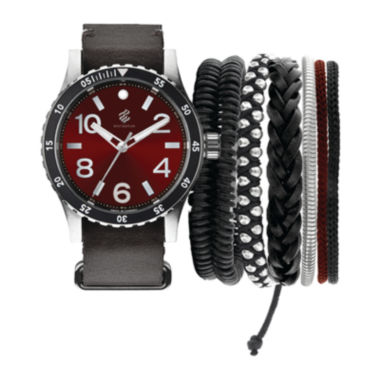 jcpenney.com | Rocawear Men's Black And Red Stackable Bracelet Strap Watch Set Rmst5188S328-085