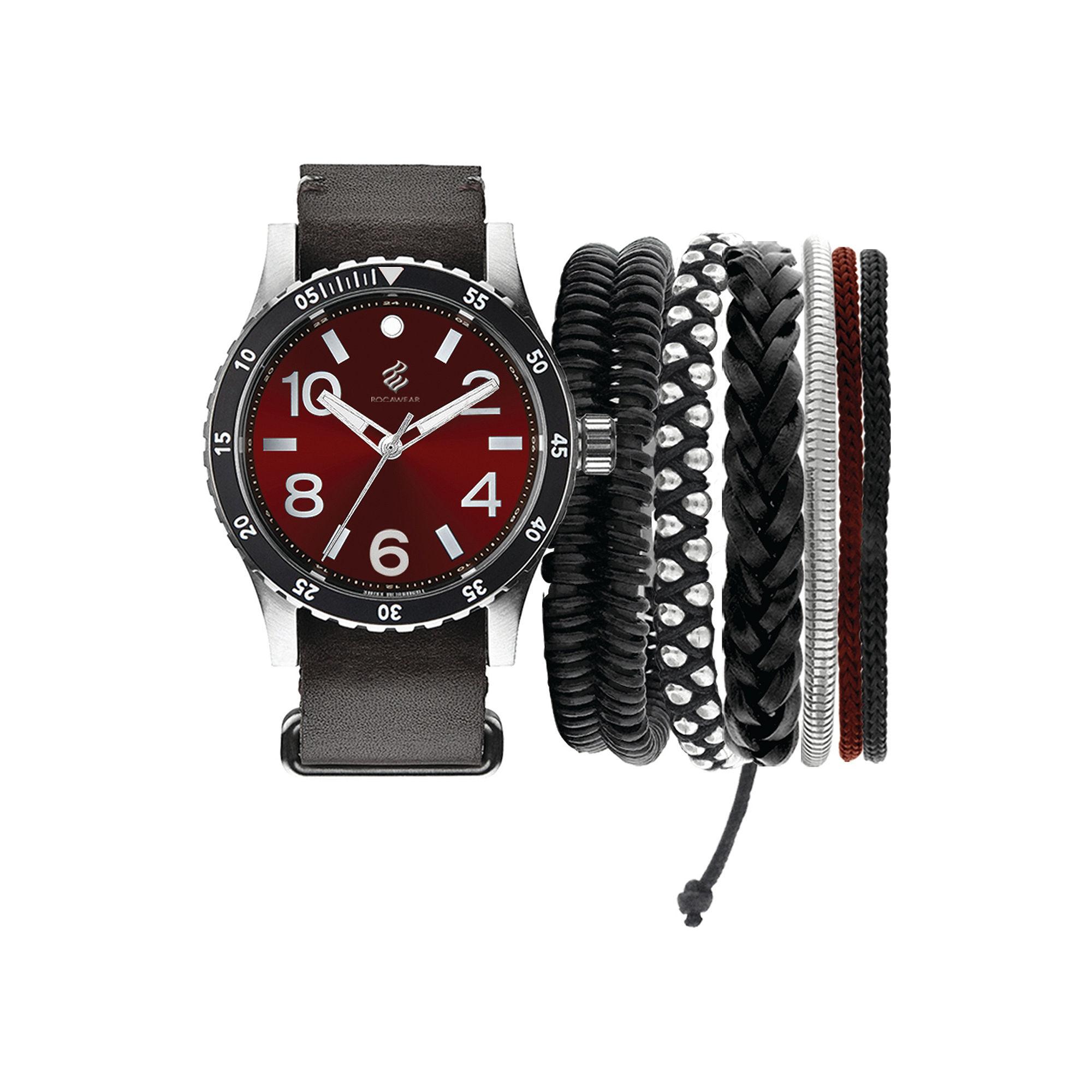 Rocawear Men's Black And Red Stackable Bracelet Strap Watch Set Rmst5188S328-085