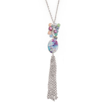 jcpenney.com | Studio By Carol Dauplaise Pink Shell Silver-Tone Chain Tassel Necklace