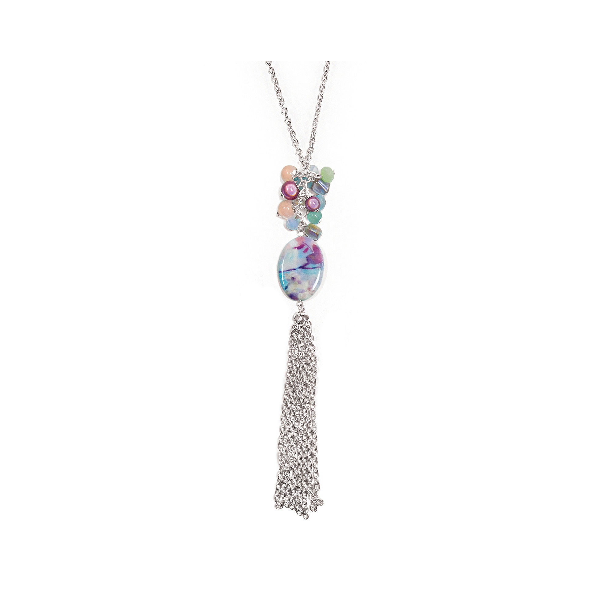 Studio By Carol Dauplaise Pink Shell Silver-Tone Chain Tassel Necklace