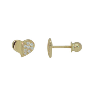 jcpenney.com | Girls 14K Gold Cubic Zirconia Heart Stud Earrings