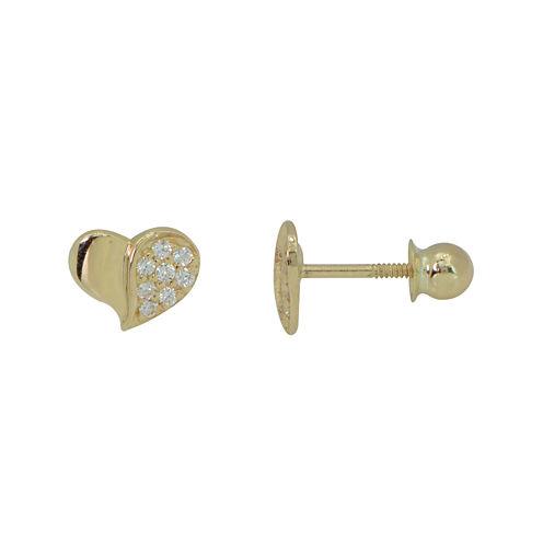 Girls 14K Gold Cubic Zirconia Heart Stud Earrings