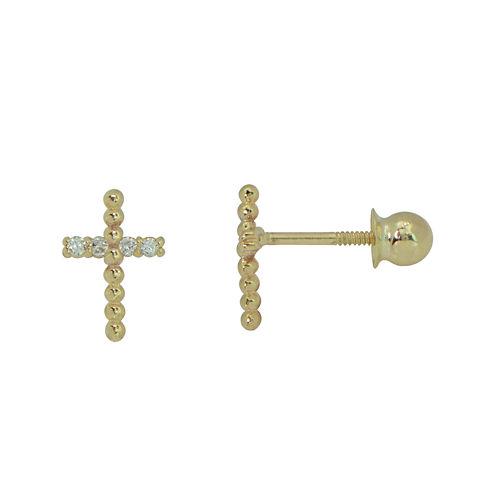 Girls 14K Gold Cubic Zirconia Cross Stud Earrings