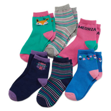 jcpenney.com | Okie Dokie® 6-pk. Critter Socks - Toddler Girls