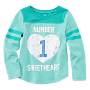 Okie Dokie® Long-Sleeve Football Tee - Toddler Girls 2t-5t