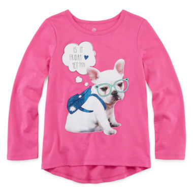 jcpenney.com | Okie Dokie® Long-Sleeve High-Low-Hem Graphic Tee - Preschool Girls 4-6x