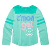 Okie Dokie® Long-Sleeve Football Tee - Preschool Girls 4-6x