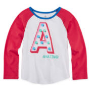 Okie Dokie® Long-Sleeve Raglan Tee - Preschool Girls 4-6x
