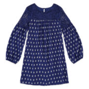 Arizona Long-Sleeve Navy Print Peasant Dress with Lace Yolk - Girls 7-16