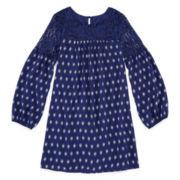 Arizona Long-Sleeve Navy Print Peasant Dress with Lace Yolk - Girls 7-16