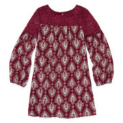 Arizona Long-Sleeve Burgundy Print Peasant Dress with Lace Yolk - Girls 7-16