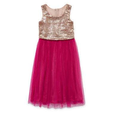 jcpenney.com | Emerald Gumdrops Sleeveless Gold Magenta Sequin Ballerina Dress - Girls 7-16