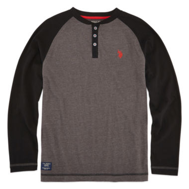 jcpenney.com | U.S. Polo Assn.® Long-Sleeve Raglan Henley Tee - Boys 8-20