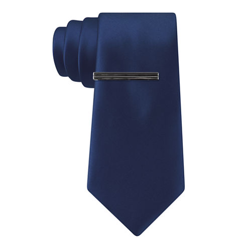 J Ferrar Satin Lombardy Blue Solid Tie