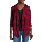 Self Esteem® Long-Sleeve Plaid Layered Shacket