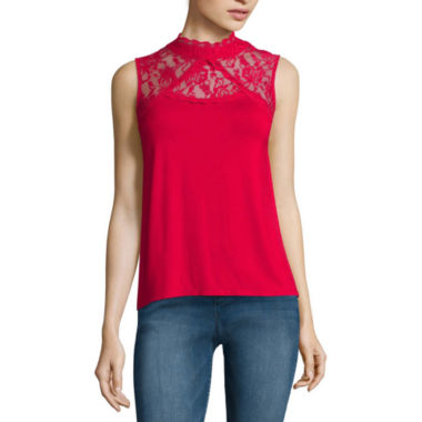 jcpenney.com | Almost Famous High-Neck Crochet Tank Top - Juniors
