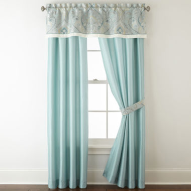 jcpenney.com | Home Expressions™ Lucerne 2-Pack Rod-Pocket/Back-Tab Lined Curtain Panels