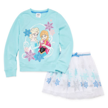 jcpenney.com | Disney® 2-pc. Frozen Long-Sleeve Top and Skirt Set - Girls