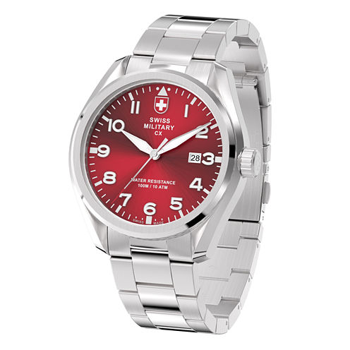 Swiss Military By Charmex Pilot Mens Silver Tone Bracelet Watch-78333_11_F