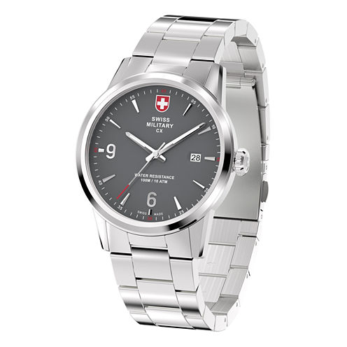 Swiss Military By Charmex Officer Mens Silver Tone Bracelet Watch-78346_4_H